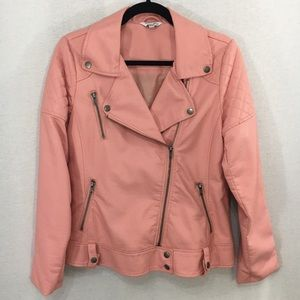 Simply Be pink faux leather Moto Biker Jacket